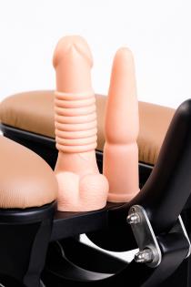 Секс-тренажер, Diva, Love Rider с двумя насадками, металл, персиковый,  57 см