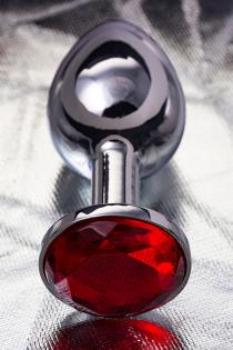 Анальная втулка Metal by TOYFA, металл, серебристая, с рубиновым кристаллом, 7,5 см, Ø 3 см, 145 г