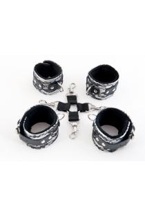 Кружевной бондажный комплект TOYFA Marcus (сцепка, наручники и оковы), серебристый