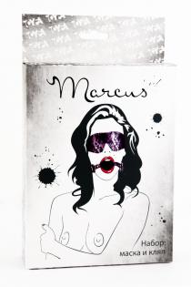 Кружевной набор TOYFA Marcus (маска и кляп), пурпурный