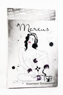Кружевной бондажный комплект TOYFA Marcus (сцепка, наручники и оковы), пурпурный