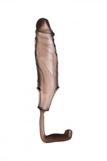 Насадка ToyFa XLover, для увеличения размера с дополнительной стимуляцией,TPE, черная прозрачная, 15,4 см