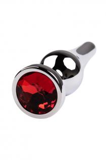 Анальный страз Metal by TOYFA, металл, серебристый, с кристаллом цвета рубин, 10 см, Ø 3 см, 95 г