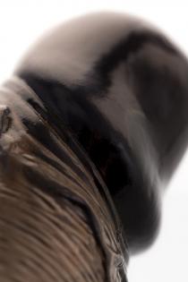 Насадка Toyfa XLover, для увеличения размера с кольцом и вибрацией, TPE, черная прозрачная, 14.5 см