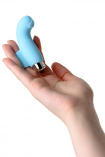 Вибронасадка на палец JOS DANKO для точки G, силикон, голубая, 9,5 см