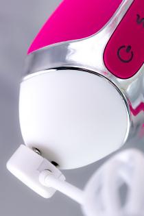Вибратор с клиторальным стимулятором JOS BALLE, с движущимися шариками, силикон, розовый, 23 см