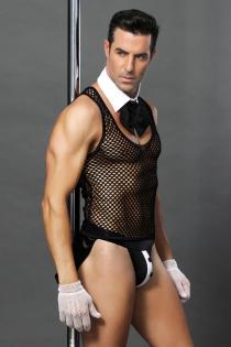 Костюм официанта Candy Boy Juan (топ, воротник с галстуком, трусы, перчатки), черно-белый, OS