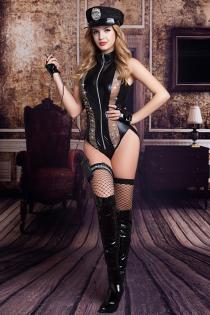 Костюм полицейской Candy Girl Raven (боди, головной убор, митенки, подвязка, чулки, рация) черный, OS