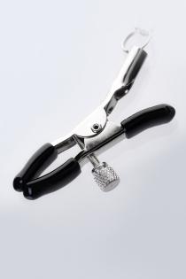 Зажимы для сосков с кольцом для пениса, TOYFA Metal, серебристо-черные