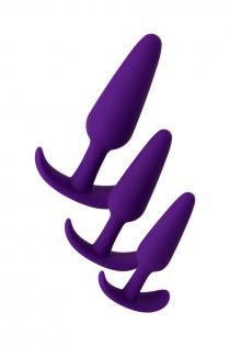 Набор анальных втулок TOYFA A-toys, Силикон,  Фиолетовый, 3  шт.