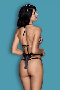 Костюм горничной Candy Girl Ciara (бюстгальтер, стринги, наклейки на грудь, фартук, головной убор), черно-белый, OS