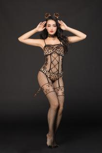 Костюм кошки Candy Girl Kandi (костюм-сетка, топ, трусы с хвостом, чокер, головной убор), черно-леопардовый, OS