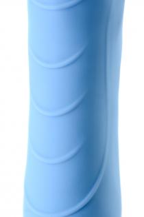 Вибратор с функцией нагрева и пульсирующими шариками PHYSICS FAHRENHEIT, силикон, голубой, 19 см