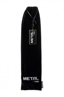 Анальная втулка Metal by TOYFA с бело-розовым хвостом, металл, серебристый, 45 см, Ø 2,7 см