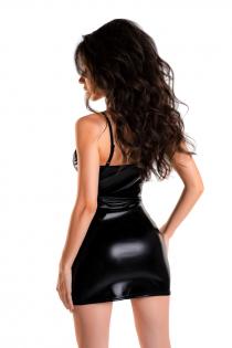 Платье Glossy Naomi из материала Wetlook, черное, M