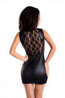 Платье Glossy Lulu из материала Wetlook, черное, M