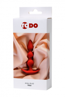 Анальная втулка ToDo by Toyfa Trio, силикон, красная, 16 см, Ø 3,3 см