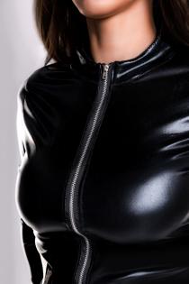 Боди Glossy Alessia из материала Wetlook на молнии, черный, M