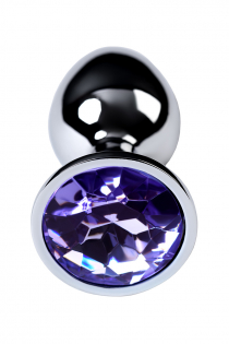 Анальный страз Metal by TOYFA, металл, серебристый, с кристаллом цвета аметист, 7 см, Ø 2,8 см, 50 г