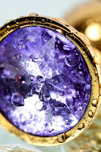 Анальный страз Metal by TOYFA, металл, золотистый, с кристаллом цвета аметист, 7 см, Ø 2,8 см, 50 г