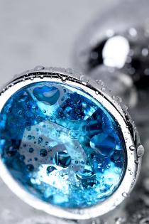 Анальный страз Metal by TOYFA, металл, серебристый, с кристаллом цвета топаз, 7 см, Ø 2,8 см, 50 г