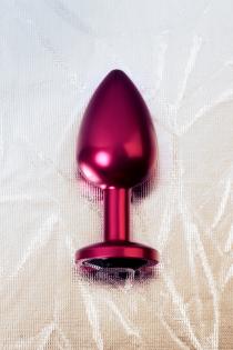 Анальный страз Metal by TOYFA, металл, красный, с кристалом цвета турмалин 8,2 см, Ø3,4 см, 85 г.