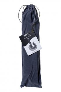 Анальная втулка с бело-фиолетовым хвостом POPO Pleasure by TOYFA, S, силикон, черная, 45 см, Ø 2,7 см