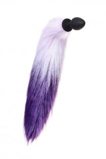 Анальная втулка с бело-фиолетовым хвостом POPO Pleasure by TOYFA, M, силикон, черная, 45 см, Ø 3,3 см