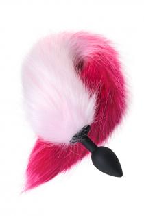 Анальная втулка с бело-розовым хвостом POPO Pleasure by TOYFA, S, силикон, черная, 45 см, Ø 2,7 см