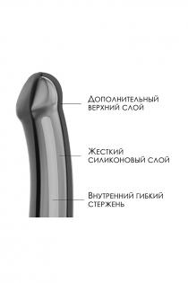 Ремневой нереалистичный страпон на присоске Strap-on-me, M, силикон, черный, 18 см