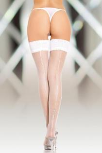 Чулки-сетка со шовом SoftLine Collection, белый, XL