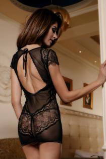 Платье Candy Girl с открытой спиной и стринги, чёрные, OS
