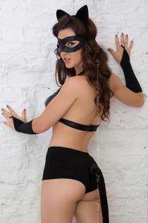 Костюм кошечки SoftLine Collection Catwoman (бюстгальтер, шортики, головной убор, маска и перчатки), чёрный, S