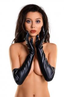 Перчатки Glossy из материала Wetlook выше локтя, черный, L