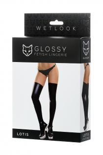 Чулки Glossy из материала Wetlook, черный, XL