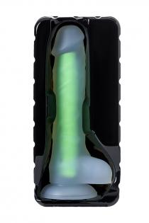 Фаллоимитатор, светящийся в темноте, Beyond by Toyfa, Clark Glow, силикон, прозрачно-зеленый, 16,5 см