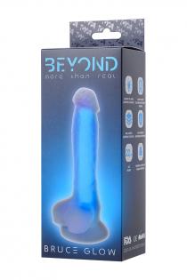 Фаллоимитатор, светящийся в темноте, Beyond by Toyfa, Bruce Glow, силикон, прозрачно-синий, 16,5 см