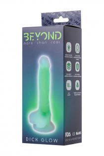 Фаллоимитатор, светящийся в темноте, Beyond by Toyfa Dick Glow, силикон, прозрачно-зеленый, 13 см