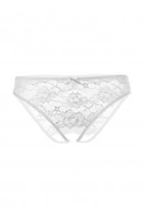 Эротические трусики Erolanta Lingerie Collection со вставкой стрейч-сетки, белые (46-48)