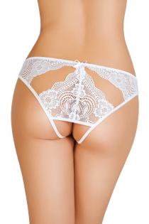 Эротические трусики Erolanta Lingerie Collection, кружевные с ажурными вырезами, белые (50-52)