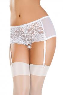 Эротические трусики-пояс Erolanta Lingerie Collection с кружевными вставками, белые (42-44)