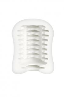 Мастурбатор Mystim MasturbaTIN Ribbed Ritay, TPE, белый, 4,5 см
