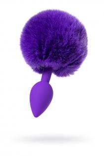 Анальная втулка с хвостом ToDo by Toyfa Sweet bunny, силикон, фиолетовая, 13 см, Ø 2,8 см, 42 г