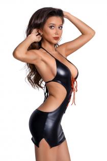 Платье Glossy из материала Wetlook с красной шнуровкой, черный, М