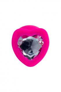 Анальная втулка ToDo by Toyfa Diamond Heart, водонепроницаемая, силикон, розовая, 9,5 см, Ø 4 см