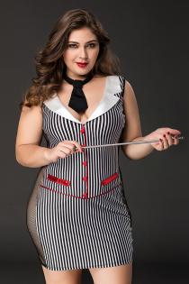 Костюм учительницы Candy Girl Tara (платье, стринги, галстук, указка) черно-белый, 2XL