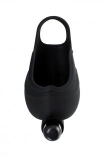 Чехол для мошонки с эрекционным кольцом и вибрацией Attraction Erotist, силикон, чёрный, Ø 2,6 см