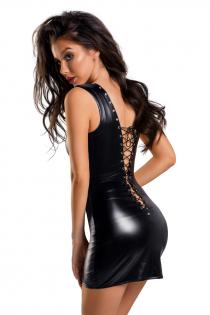 Платье Glossy из материала Wetlook с заклепками, черный, L