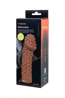 Насадка KOKOS  с дополнительной стимуляцией, реалистичная,TPE, телесный, 16.5 см