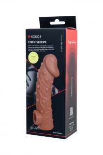 Насадка KOKOS  с дополнительной стимуляцией, реалистичная,TPE, телесный, 17.6 см